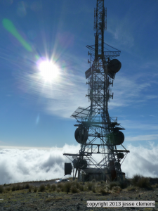 Weather station on the slopes of the volcano.